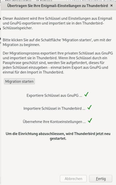 Screenshot Schlüsselmigration