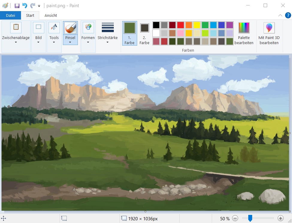 Painting of a landscape in MSPaint showing mountains in the background and clouds. Trees and greenery in the foreground