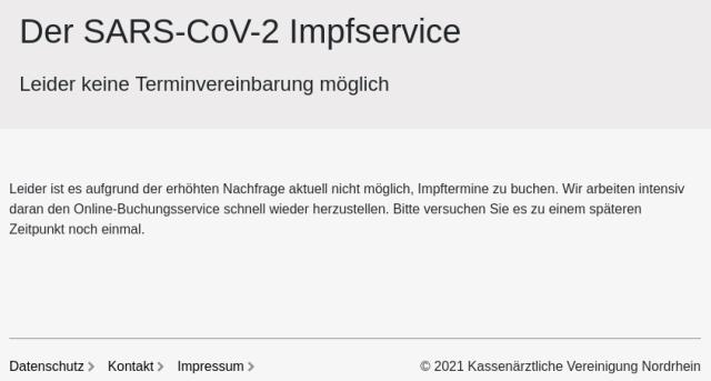 Website: Momentan kein Impftermin möglich