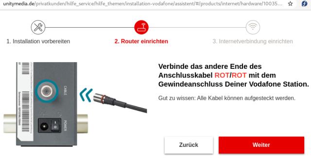 Screenshot: Sie brauche Kabel rot/rot